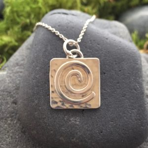 Saucy Jewelry square pendant with spiral