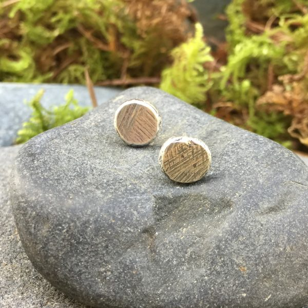 textured silver stud earrings