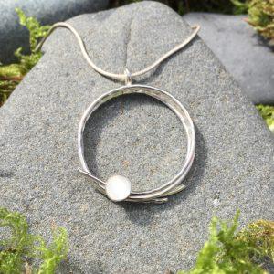 bird's nest pendant - white gemstone