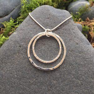 entwined double hoop pendant