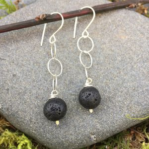 lava stone on a chain earring