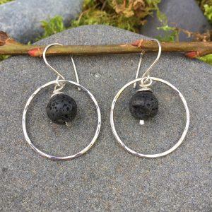 lava rocks in silver hoop earrings