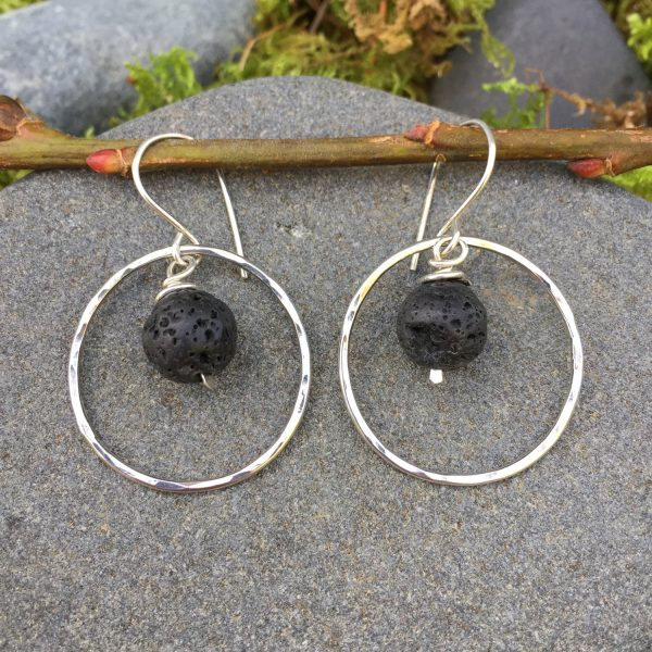 lava rocks in silver hoop earrings