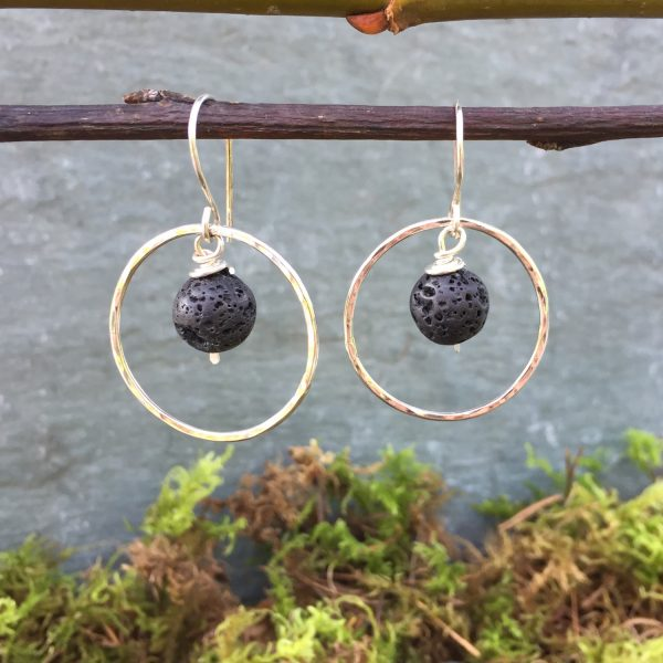 silver hoop earrings with small lava rocks