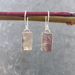 small silver topographic earrings