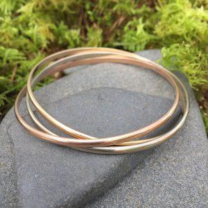 14kt gold 3 bangle bracelet