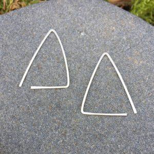 triangle slip-in silver earrings