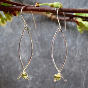 wishbone earrings with small gemstone