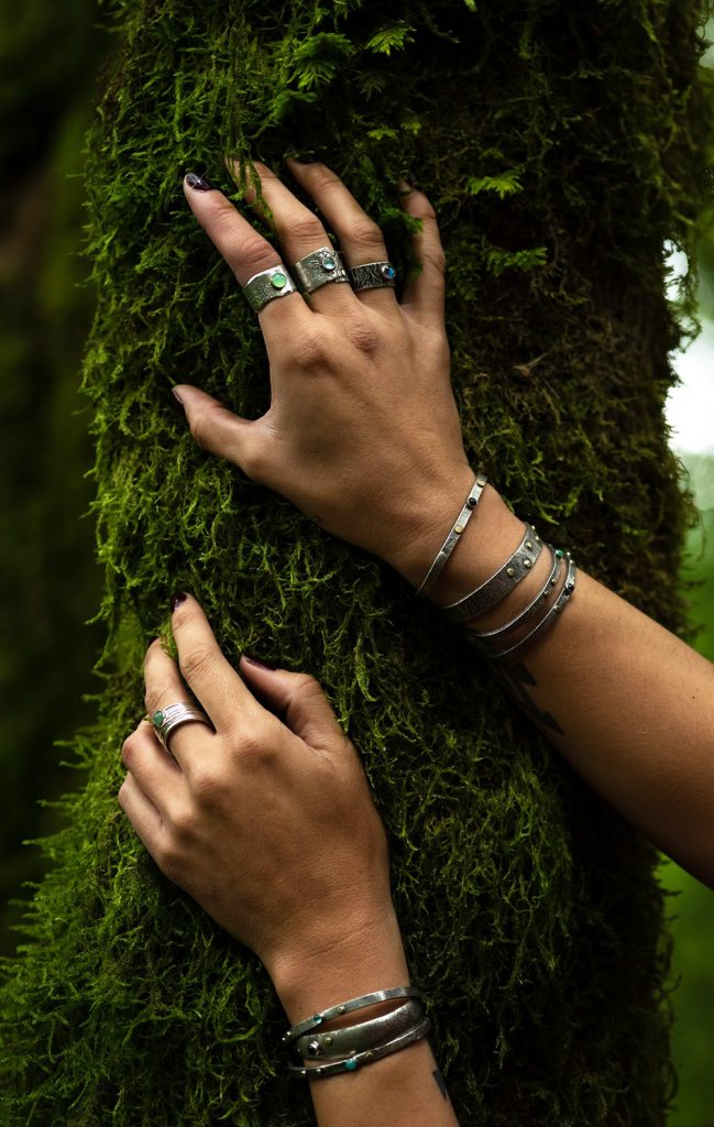 Saucy Jewelry | sterling silver jewelry on mossy tree
